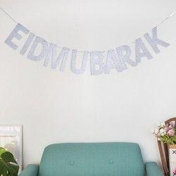 EID MUBARAK Argent Alphabet Décoratif Décoration De Mariage Al-Fitr Partie Fanion Moindre Baïram Bannière Heureux Eid Bunting Parti