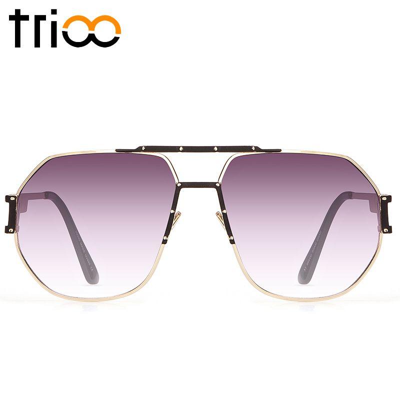 TRIOO De Luxe Designer lunettes de Soleil Hommes Gradient Frais Carré Lunettes de Soleil Pour Hommes 2017 Neuf de Haute Qualité Or Cadre Mâle Nuances