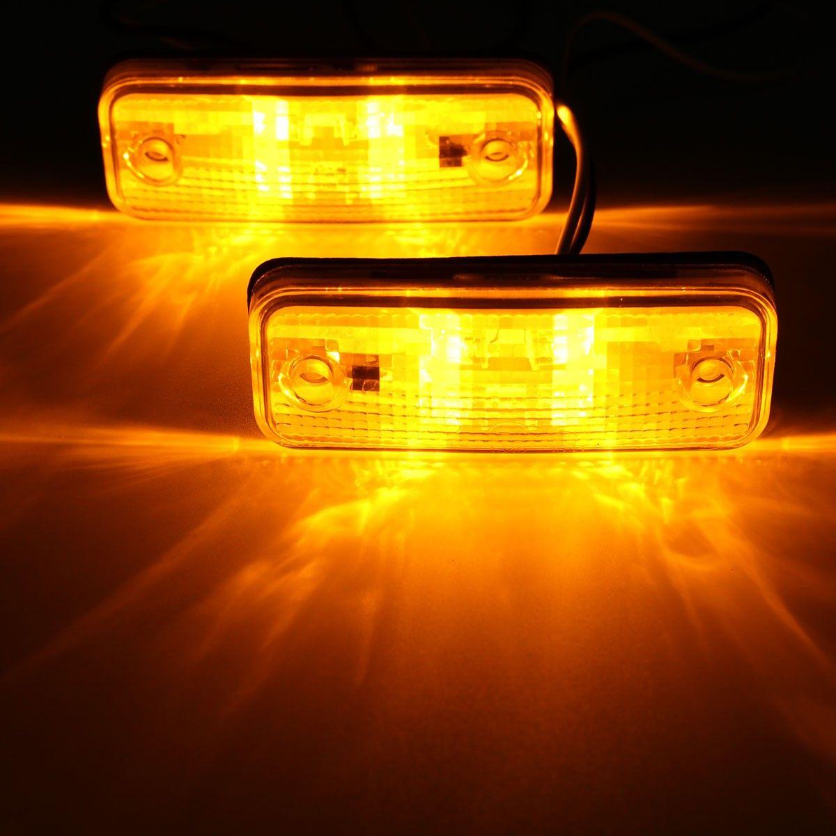 2pcs 4 LED Side Marker Light Indicator Lamp Bus Truck Trailer Lorry Caravan 10~30V E8