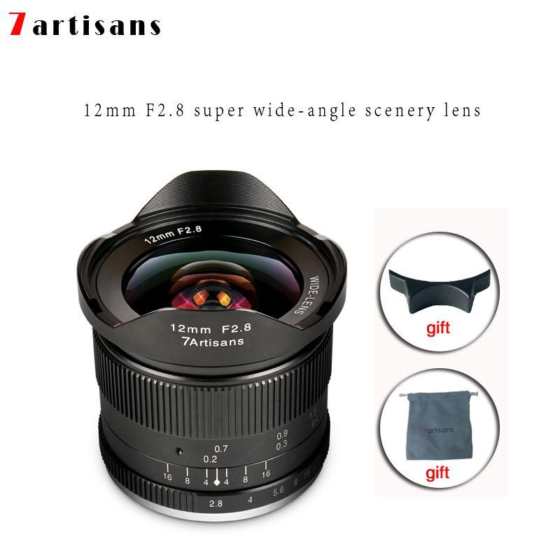 Lentes 7 handwerker 12mm F2.8 Ultra Weitwinkel Objektiv Für E-mount Aps-c Spiegellose Kameras A6500 a6300 A7 Manueller Fokus Prime Feste