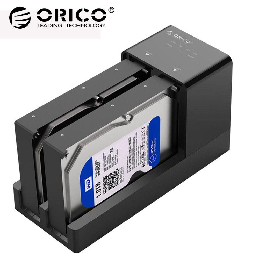 ORICO Dual Bay HDD Docking Station 2,5 3,5 USB 3.0 zu Sata Festplatte Fall Unterstützung Offline Klon Festplatte Adapter für HDD SSD