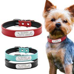 Perro personalizado cuero Collares gato personalizado nombre collar de identificación grabado gratis para pequeño mediano Perros