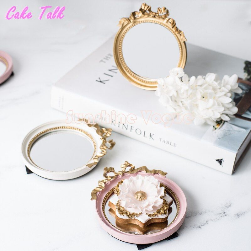 Mini plateau à gâteau européen vintage plaque de miroir or/rose/blanc calme maquillage miroir barre de bonbons décoration gâteau outil