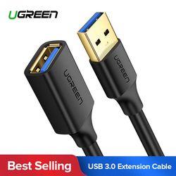 Ugreen USB Kabel Ekstensi Kabel USB 3.0 untuk Smart TV PS4 Xbox One SSD USB3.0 2.0 untuk Extender Data Cord mini USB Kabel Ekstensi