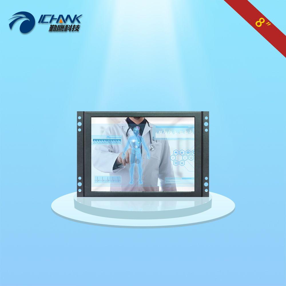 K080TC-ABHUV/8 zoll metallgehäuse 1024x768 VGA HDMI USB Offene Embedd rahmen wandbehang industrielle touch monitor LCD display