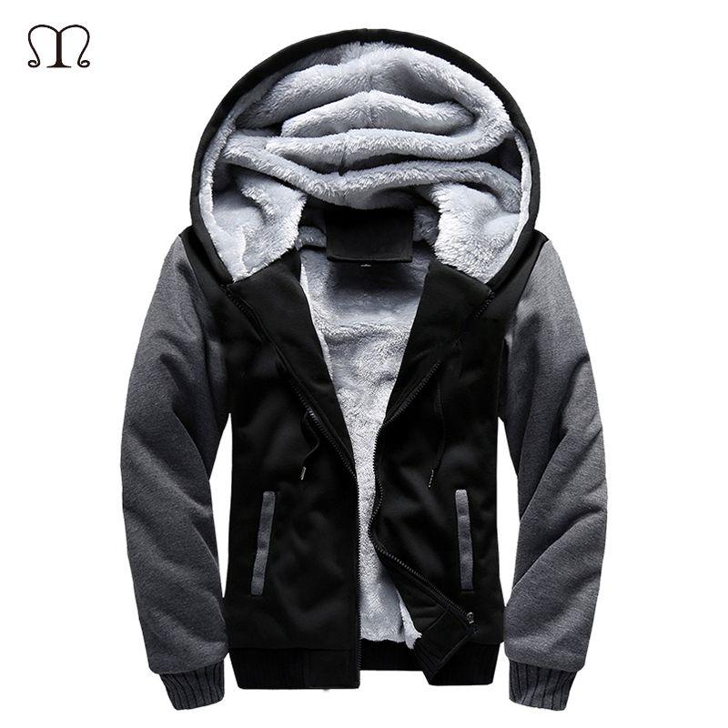 5XL Fleece Hoodies Men Winter Warm Mens Hooded Jackets Tracksuits Outwear Patchwork <font><b>Sportswear</b></font> Thicken Wool US Size Sweatshirts