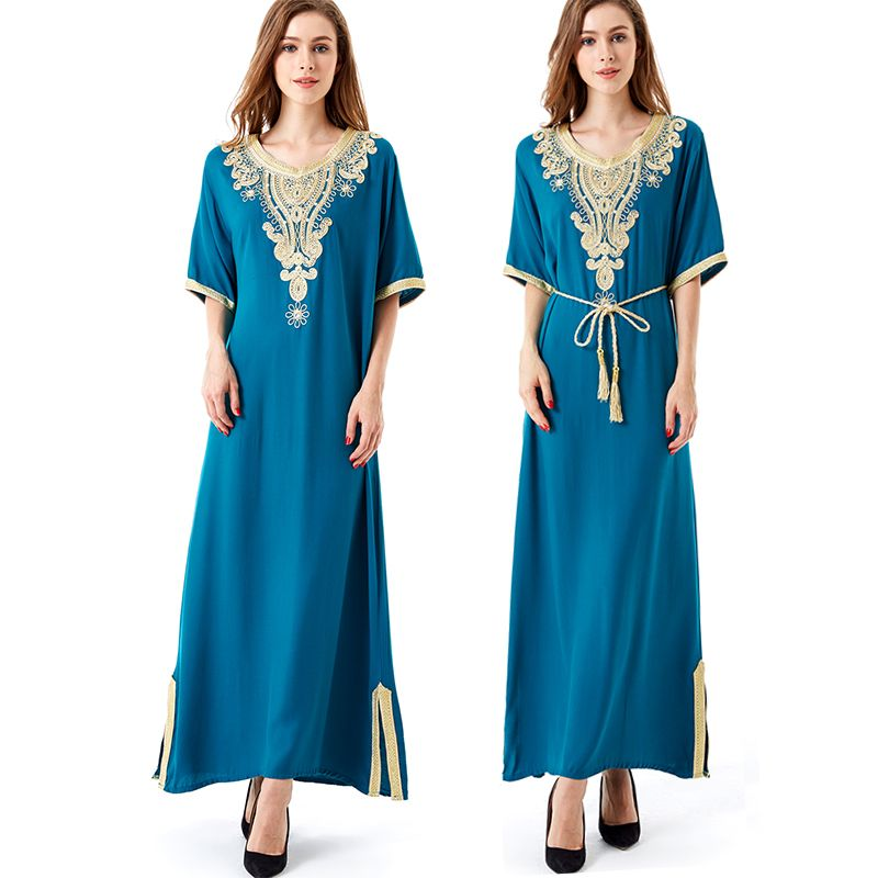 Robe longue manches longues maxi robe musulmane caftan islamique abaya grande taille femmes vêtements grande taille robe vintage broderie tunique