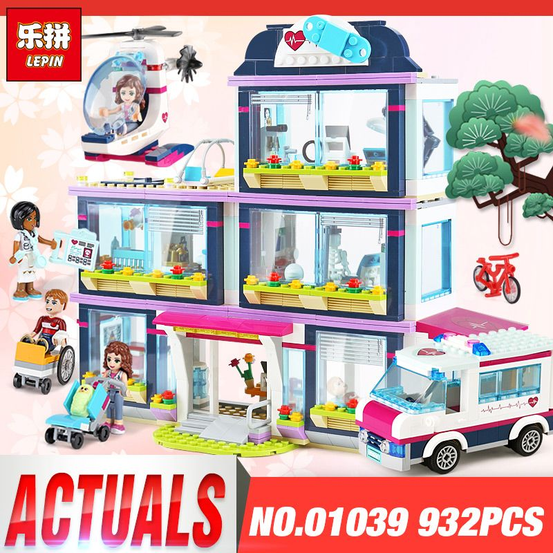 Lepin 01039 01046 Friends Girl Series Building Blocks Heartlake Hospital Toys Pop Star House Set Legoings 41318 41135 Kids Gifts