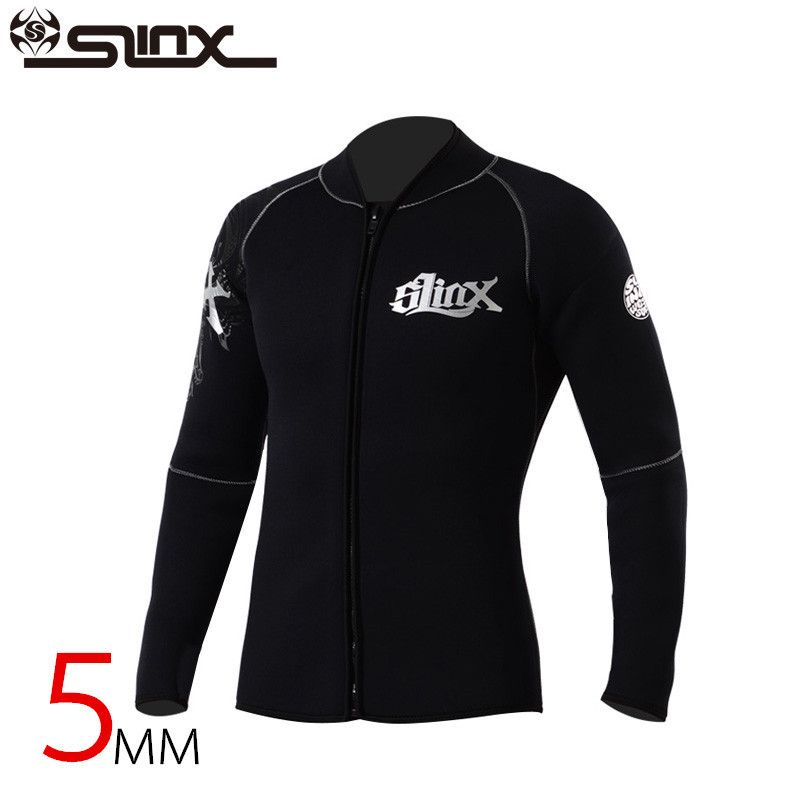 Slinx 5mm Neoprene Scuba Dive Clothing Snorkeling Jacket Wetsuit Top Coat High Elastic Spearfishing Kite Surf Windsurf Swimwear