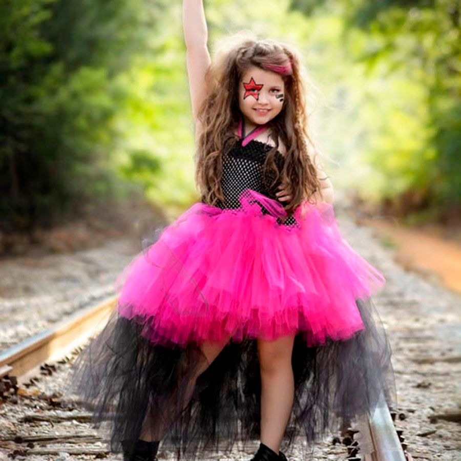 Rockstar Reine Filles Robe De Noël Halloween Costume Petite Fille Tulle Tutu Robe Funking Robe de Fête D'anniversaire TS083