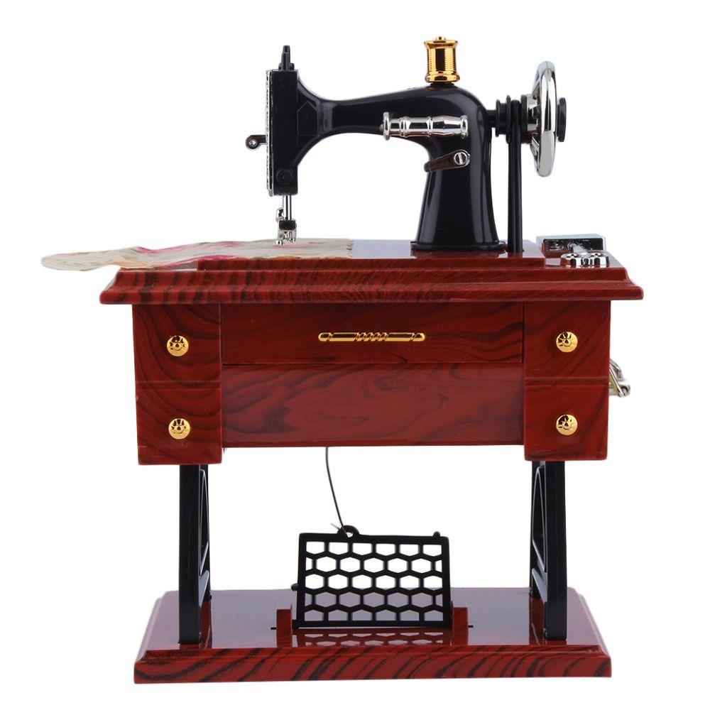 1 Pc Mini Vintage Lockwork Machine À Coudre Boîte à Musique Enfant Jouet Pédale Sartorius Jouets Rétro Cadeau D'anniversaire Décoration Baisse gratuite