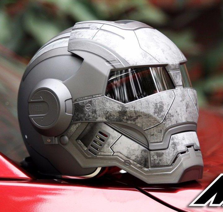 Masei 610 Stern Maschine DOT Helm Ironman Iron Man Atom Mann Motorradhelme Offenes Gesicht Ironman Star Wars Grau Krieger Matt L