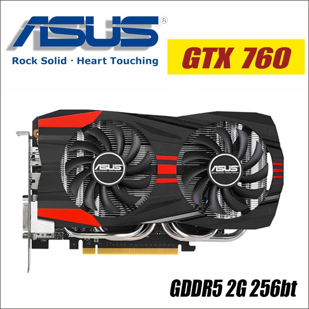 ASUS Video Graphics Card Original used GTX 760 2GB 256Bit GDDR5 Video Cards for nVIDIA VGA Cards Geforce GTX760 Hdmi Dvi