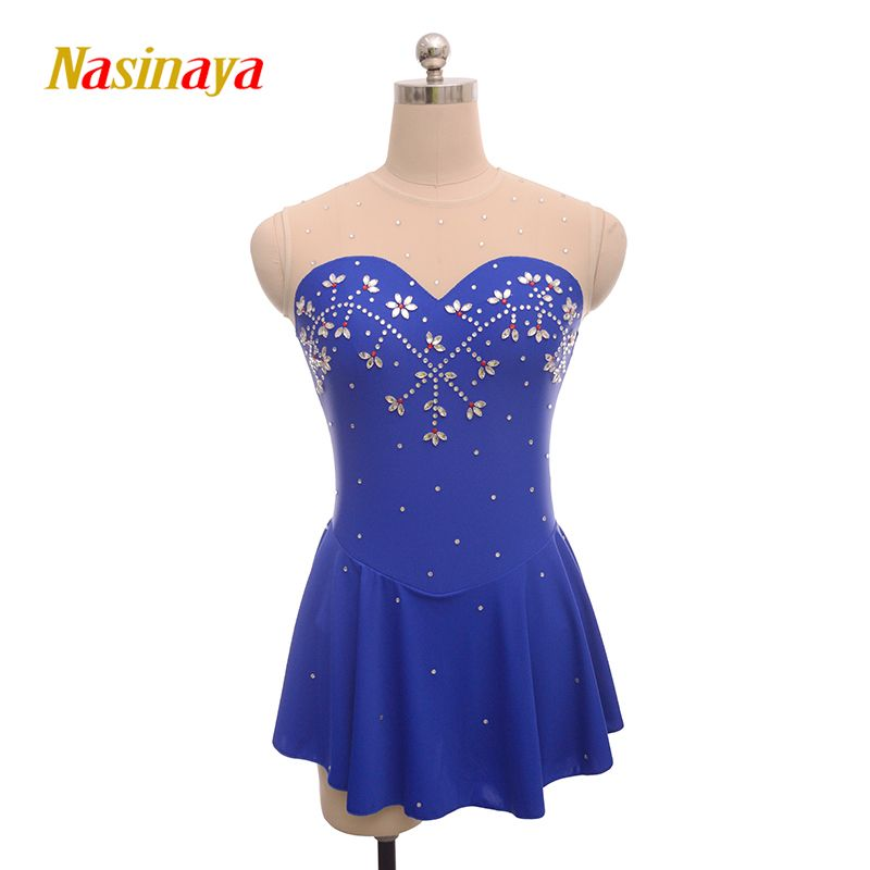 Customized Costume Ice Figure Skating Gymnastics Dress Competition Adult Child Girl Skirt Performance Blue Strapless Rhinestone