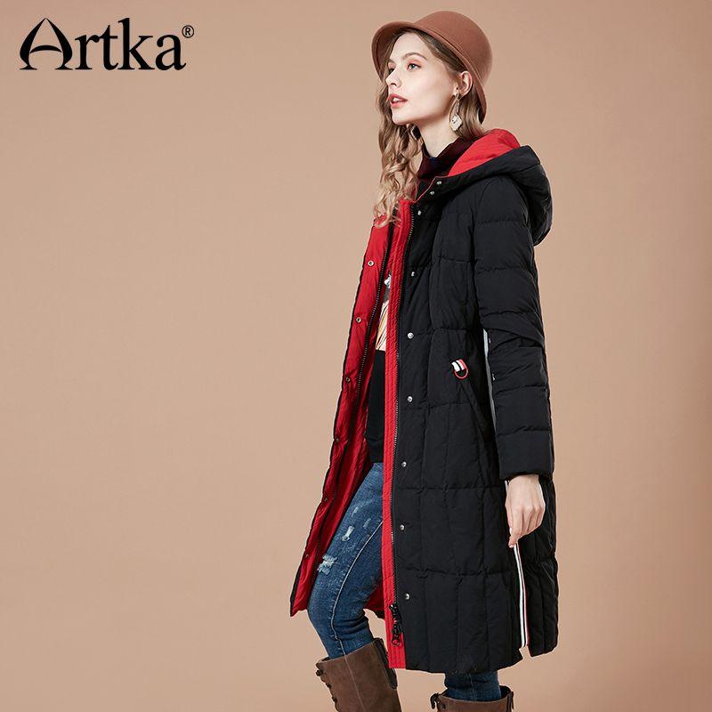 ARTKA Frauen 2018 Winter 90% Weiße Ente Unten Mantel Kontrast Farbe Hoodies Weibliche Mode Verdicken Jacke Mäntel YK10089D