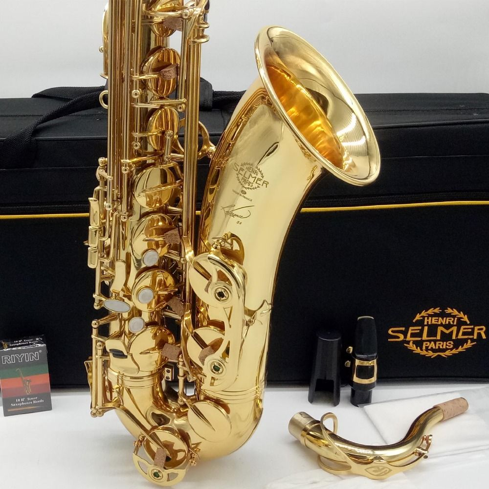 Brand New French Tenor Saxophone Reference 54 Gold Lacquer Sax Tenor Musical Instruments Professional R54 Included Case
