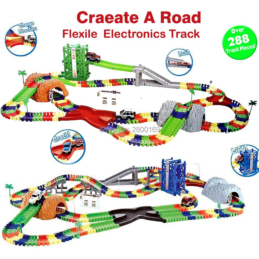 Coaster DIY Flex Race Track Create A Road Deluxe Over 288Piece Flexible Track Playset with Accessories Railway Rail cars toys