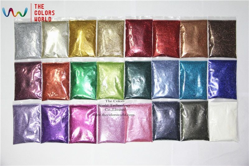 TCMHT-002 24 Metallic luster Colors 0.2MM  008 Size  Glitter for nail art nail gel nail polish or Other art DIY Decoration
