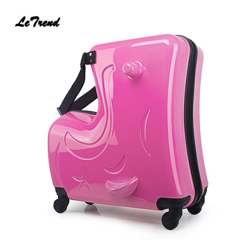 Letrend Children Rolling Luggage Spinner 20 inch Wheels Suitcase Kids Cabin Trolley Student Travel Bag Cute Baby Carry On Trunk