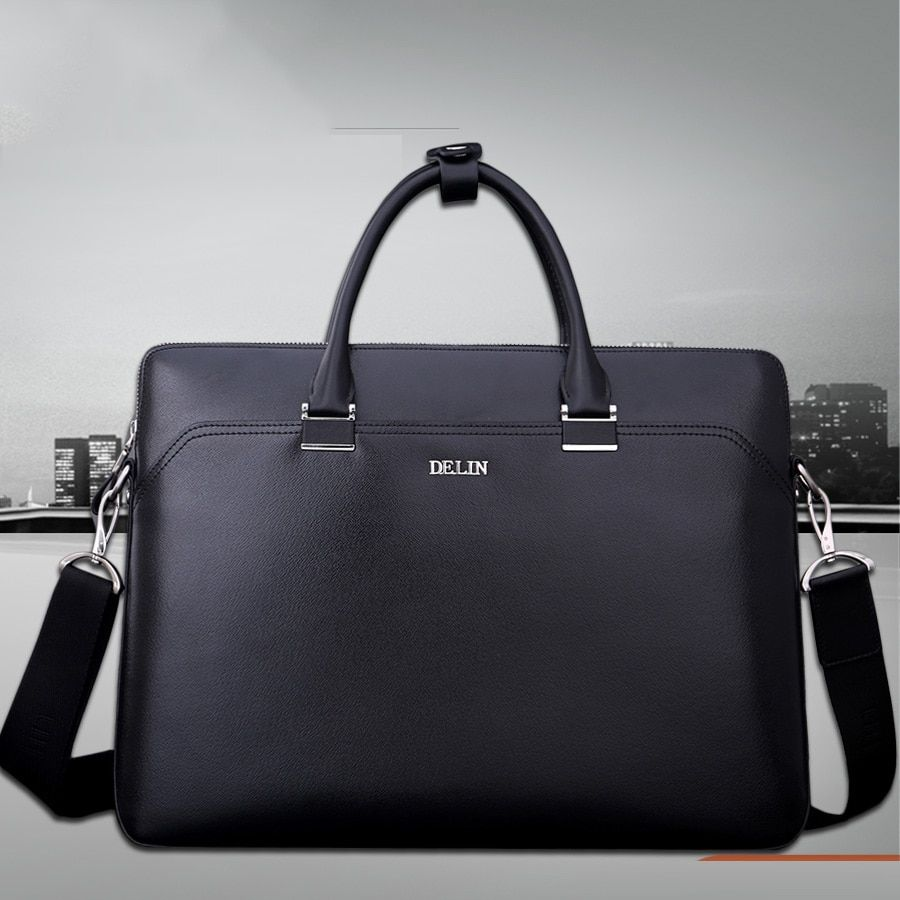 delin 59 Delin business men's bag computer bag 15.4 notebook computer bag leather handbag horizontal