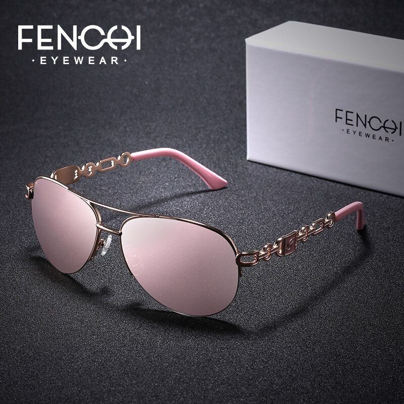 FENCHI Female Sunglasses Women 2019 Designer Brand Luxury Ladies sun glasses Women's Aviaton Black pink Mirror gafas de sol muje