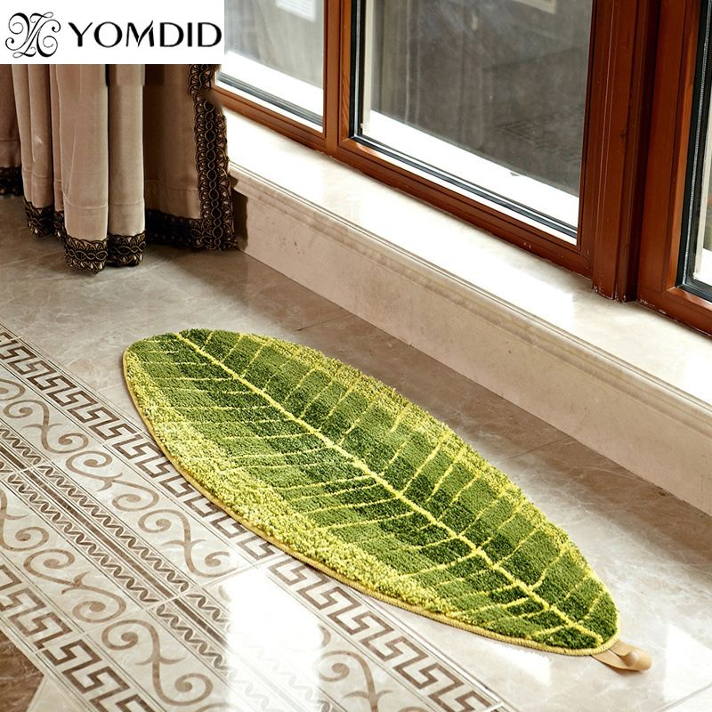 Green Leaves Design mat TPE Bath Mat doormat Anti-slip carpet for living room kitchen Bathroom Bedroom rugs Alfombra de bano