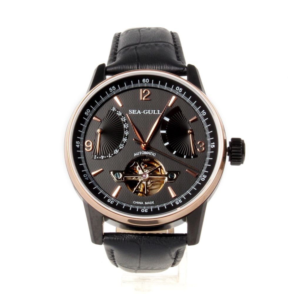 Retrograde Date Power Reserve Seagull 219.327 PVD With Stainless Steel Automatic Mechanical Men's Watch