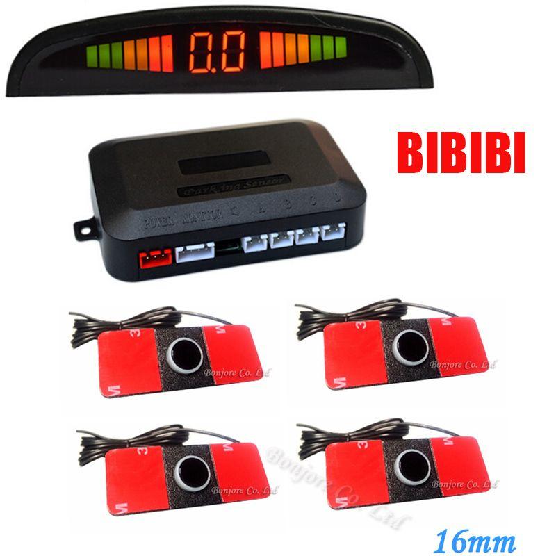 LED Display Car Vehicle Reverse Backup Radar System 4 Parking 16mm Sensors Drive 7 Colors choose , Free Shipping