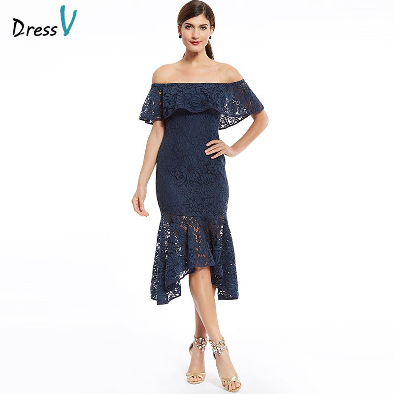 Dressv foncé marine dentelle cocktail dress off the shoulder ruches élégant formelle party dress pas cher sirène robes de cocktail courtes