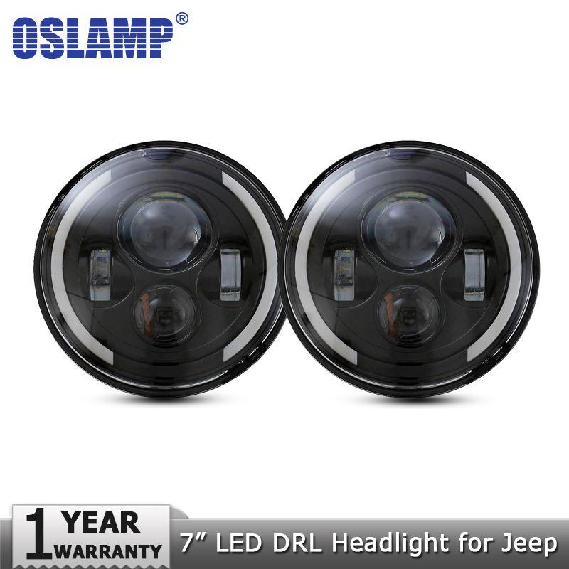 Oslamp 2pcs 7 60W LED Headlights for Jeep CJ/Wrangler JK Headlamps Led Driving Light for Land Rover Defender H4 H13 Headlights