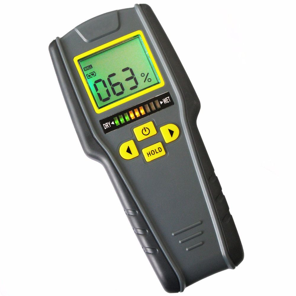 Digital 4-in-1 Non-Invasive Inductive Moisture Meter for Drywall, Masonry, Softwood and Hardwood w/ Auto Calibration & Alarm