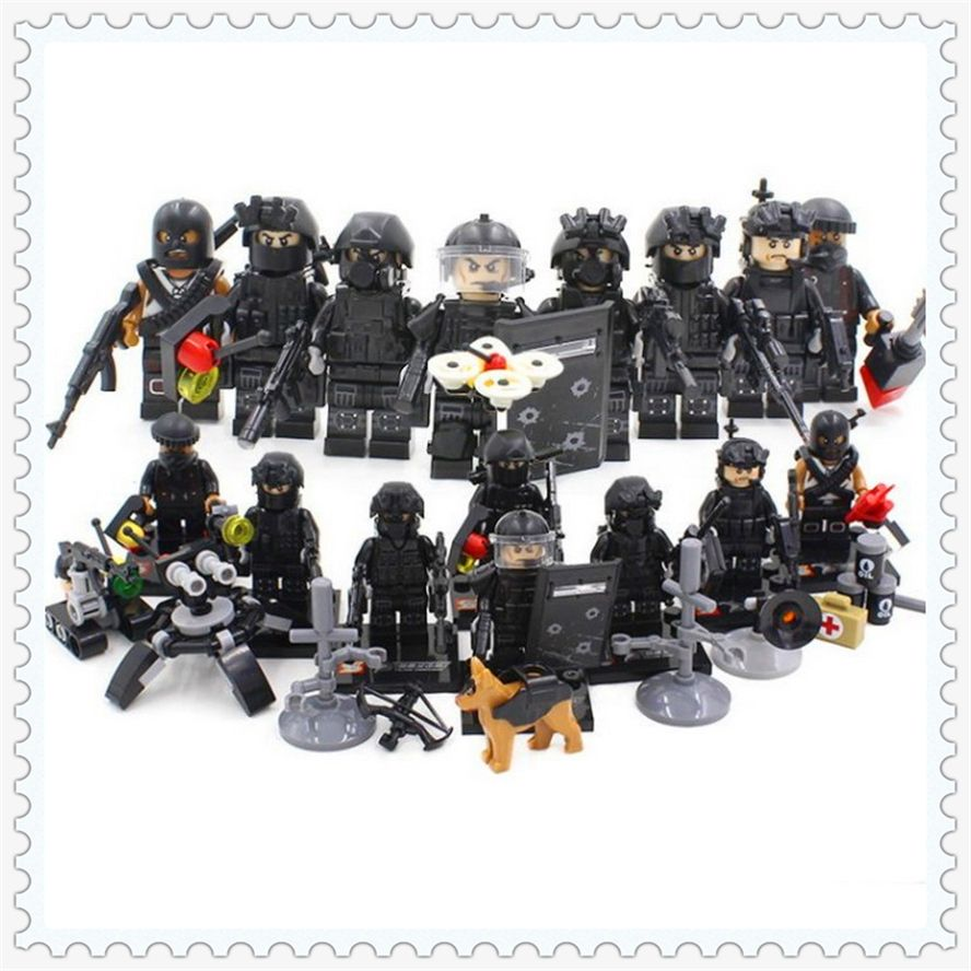 8Pcs/Set WW2 Police SWAT Weapon Gun Army Soldier Model Building Block Toys SY 607 Figure Gift For Children Compatible Legoe