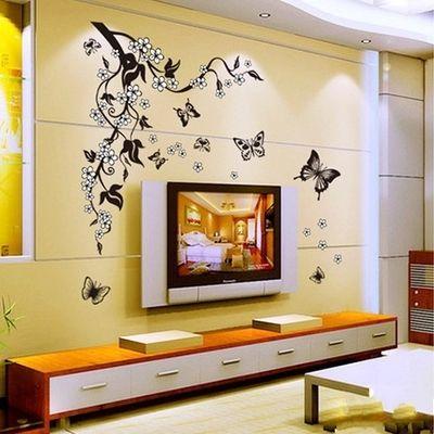 Autocollant mural noir papillon vigne fleur sticker mural salle de bains cuisine réfrigérateur décor décalcomanie autocollants amovibles