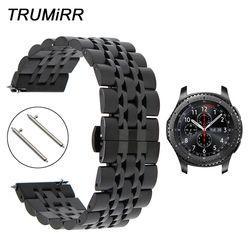 22 Mm Stainless Steel Gelang Jam + Rilis Cepat Pin untuk Samsung Gear S3 Klasik Frontier Watch Band Wrist Strap Link gelang