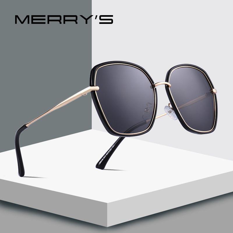 MERRYS DESIGN Frauen Luxus Schild Polarisierte Sonnenbrille Metall Tempel UV400 Schutz S6226