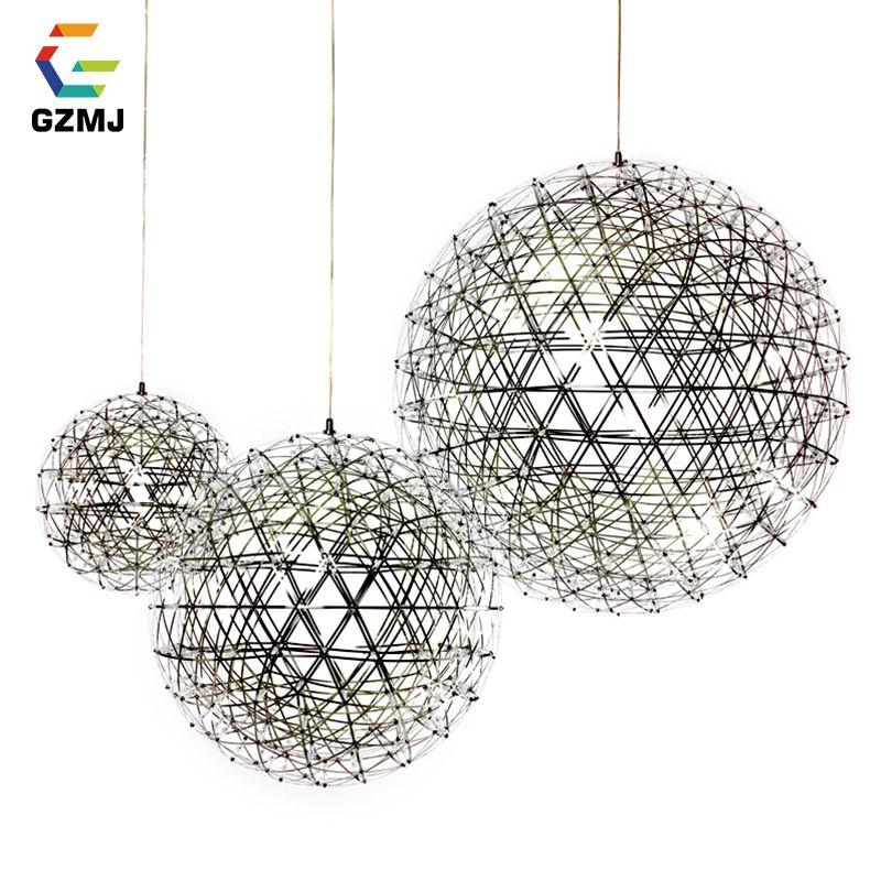 GZMJ Brief Spark Globe LED Pendant Lights Art Deco Firework Ball Stainless Steel Hanging Lamp Loft Light Fixtures for Home Decor