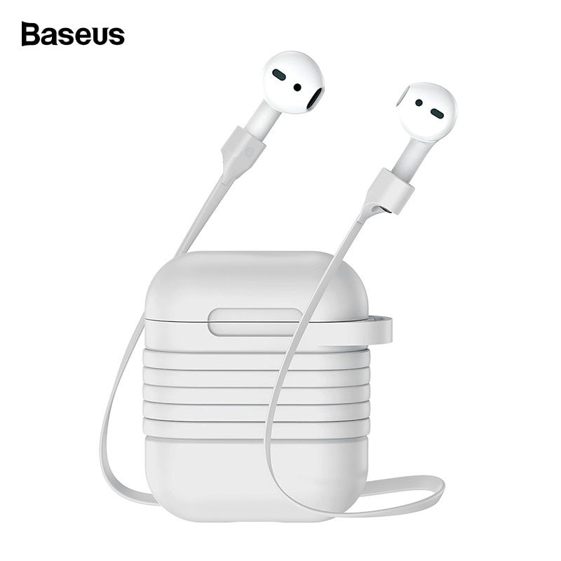 Baseus Silicone Case For Airpods Protective Case For Apple Airpods Charging Cover Coque With Anti Lost Strap For Airpod Air pods