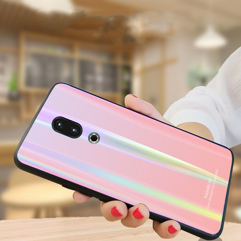 16 16th étui en verre trempé brillant Laser pour Meizu 16 16th étui 6.0 ''Version mondiale couverture de couleur dégradé de luxe Meizu16 Fundas