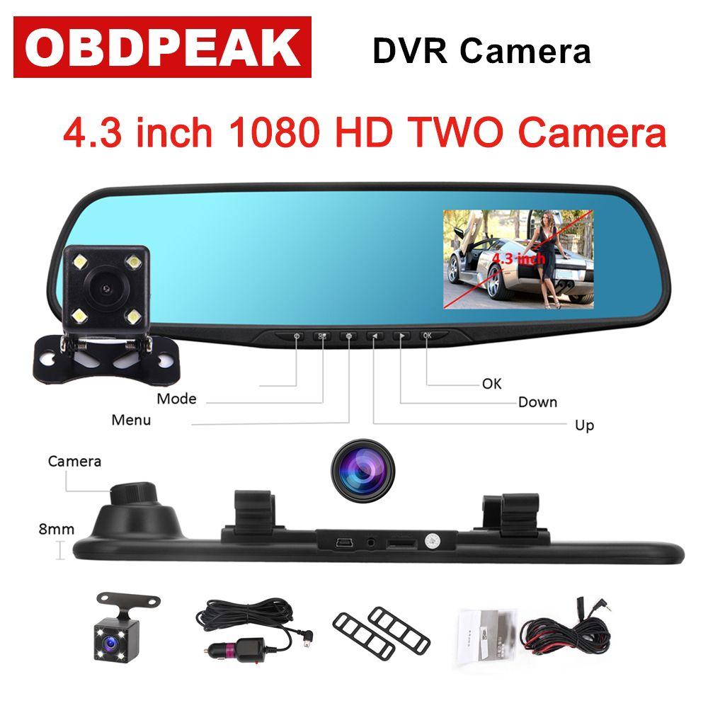 4.3 1080P car rearview mirror dvr car full HD 1080p car driving video recorder camera car <font><b>reverse</b></font> image dual lens Free shipping