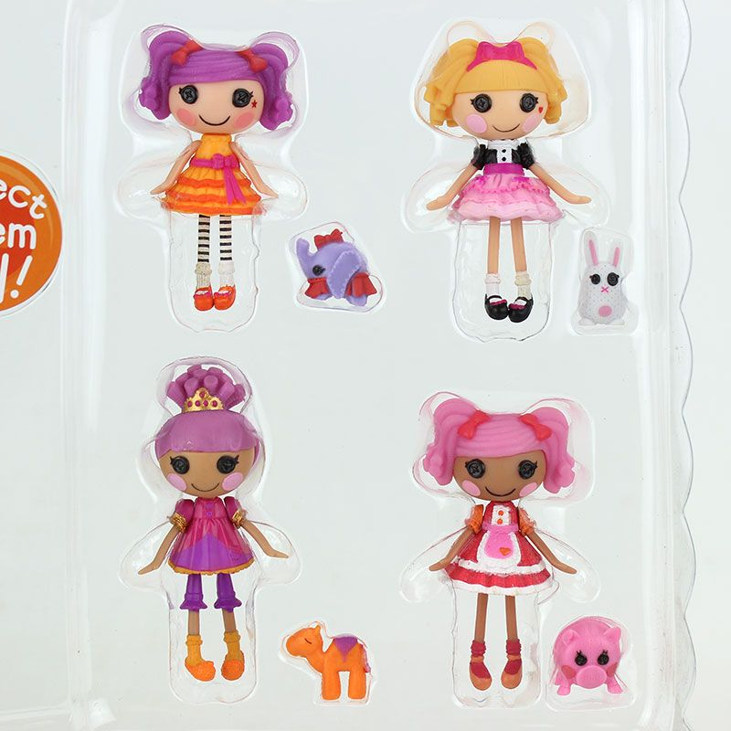 4pcs 3Inch Original MGA Lalaloopsy Dolls + 4pcs Accessories, Packing Without Box