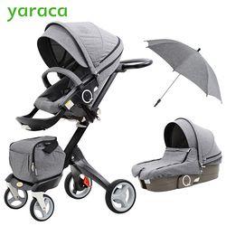 2 En 1 Bébé Poussette Haute Paysage Pliant Portable Bébé Transport Pour Les Nouveau-nés De Luxe Poussettes Pour Enfants De 0-3 Ans