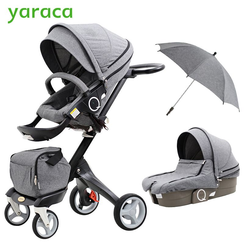 2 In 1 Kinderwagen Hoher Landschaft Faltung Tragbare Kinderwagen Für Neugeborene Luxus Kinderwagen Für Kinder Von 0-3 Jahre Alt