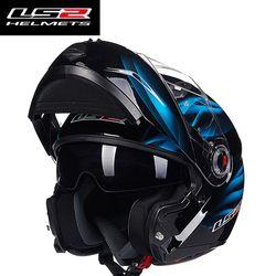LS2 FF370 hombres Flip up moto rcycle casco dual Shield con interior soleado lente modular moto Racing cascos ECE Europa homologado