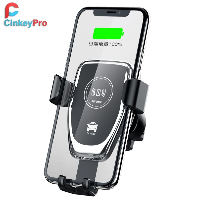 CinkeyPro Wireless Car Charger for iPhone X 8 XS Samsung XiaoMi USB Fast Charging Holder Air Vent Stand QI Device Universal