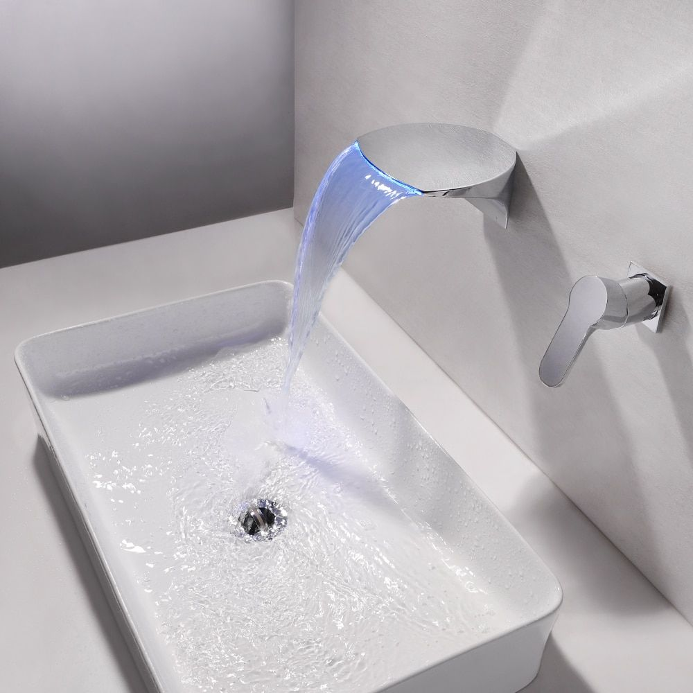 Modern LED Waterfall Wall Mounted Widespread Bathroom Sink Faucet in Chrome