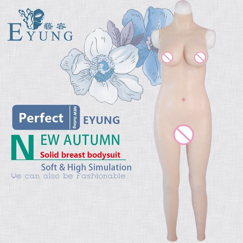 EYUNG 70D cup solid breast form bodysuit top realistic crossdress silicone boobs tight dress Zentai suit male to female shemale