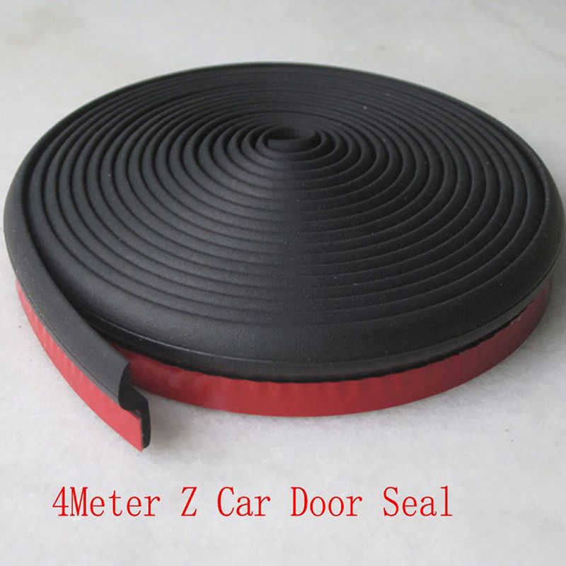 4 Meter Z Type Adhesive Car Rubber Seal Sound Insulation Car Door EPDM Sealing Strip Weatherstrip Car Styling Trim Seal Filler