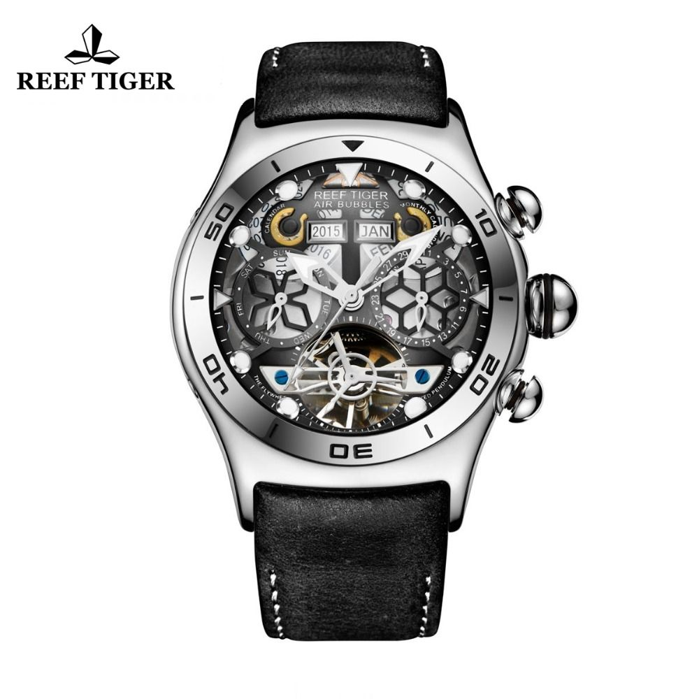 Reef Tiger/RT Mens Sport Watches Automatic Skeleton Watch Steel Waterproof Tourbillon Watch with Date Day reloj hombre RGA703