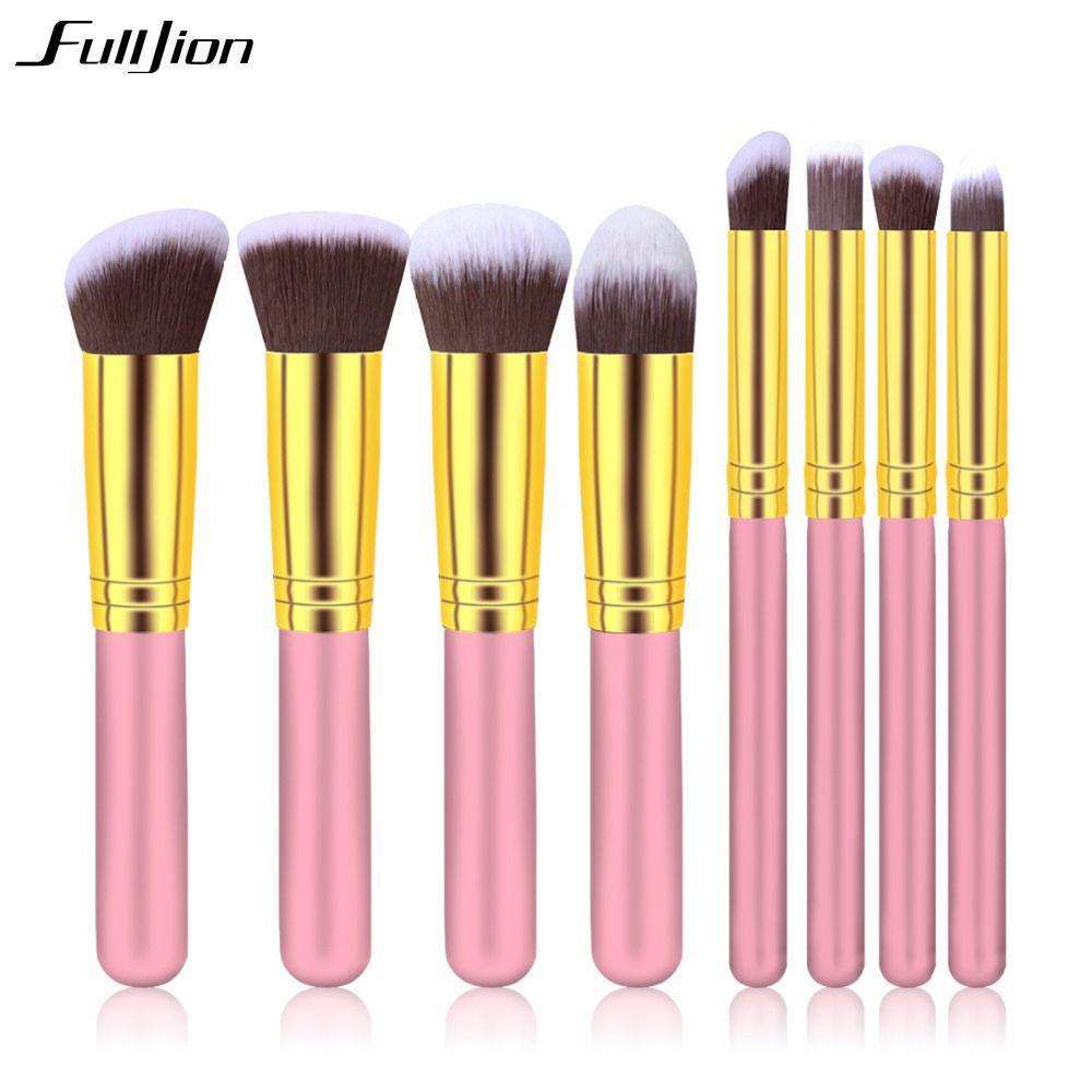 Fulljion 8 pcs/ensemble Pro Maquillage Brosses Outils Set Pincéis De Maquiagem Organisateur Utiliser Bois Métal Nylon Palette Pour Maquillage Brosses