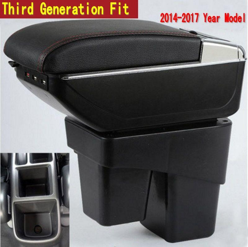 Pour Honda Fit Jazz 3ème génération boîte accoudoir central Magasin contenu boîte De Rangement avec porte-gobelet cendrier USB interface 2014-2017